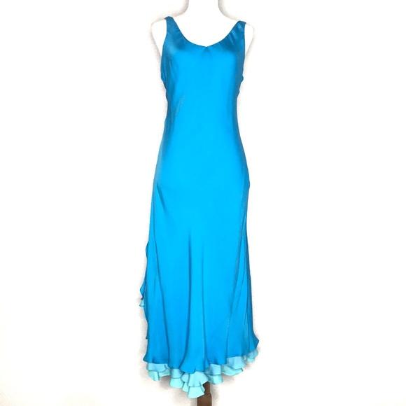 Lauren Ralph Lauren Dresses & Skirts - Lauren Ralph Lauren Blue Silk Ruffle Dress A200809